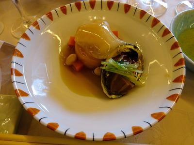 煮物「かぼちゃ饅頭 あわび土佐煮 紅タピオカ 水菜 被せ蕪 扇糝薯」
