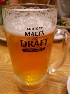 泡がなくなったらかなり量が減ってしまったビール