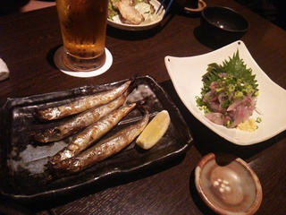 ししゃも(518円)+あじのタタキ(777円)