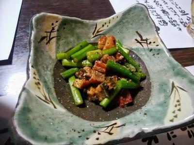 鰻と茄子の芽の炒め物