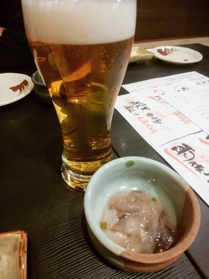 生ビールとたこわさ