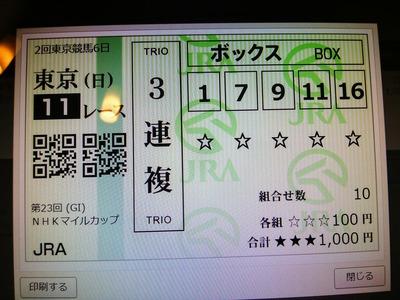 NHKマイルC馬券