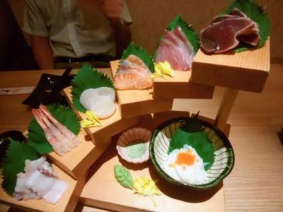 地魚を使った鮮魚7段盛り合わせ