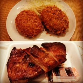 コロッケと焼き豚