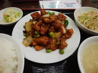 鶏肉のピリ辛炒め定食