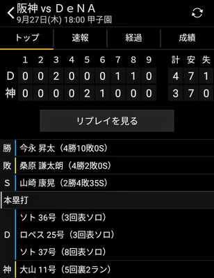 阪神vs横浜第22回戦